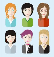 Women avatars portraits on blue background
