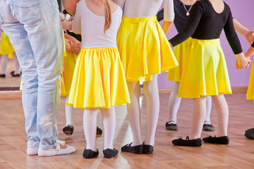 Ballet dancers children in class, legs only