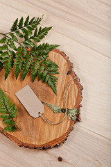 blank tag on wooden background with fern and cut down tree