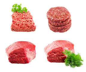 Set of Fresh beef slab with dill , ground beef , burgers for