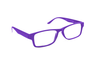 Dark Purple Eye Glasses Isolated on White shallow depth of field
