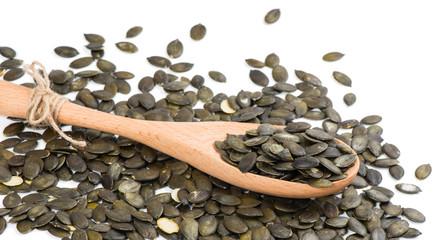 closeup salted pumpkin seeds