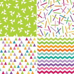 seamless bright colorful geometric patterns
