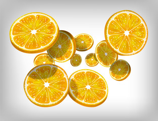 Slices of fresh citrus orange falling and flying