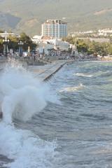 Promenade  of resort during a gale