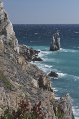 Rocky seashore in stormy weather