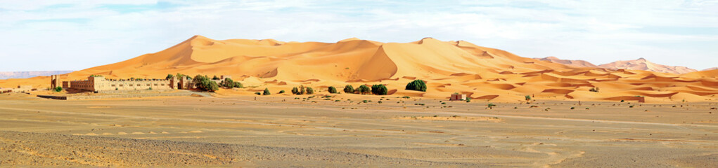 Panorama from the Erg Chebbi desert in Morocco