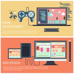 Game development and web design concept