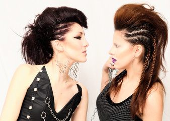 Two fashion girls with professional hairstyle and makeup