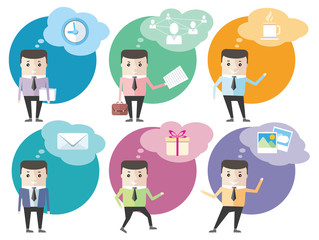 Business man icons with dialog bubbles