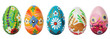 Hand painted Easter eggs isolated on white. Spring patterns - 78694010