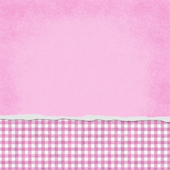 Square Pink and White Gingham Torn Grunge Textured Background