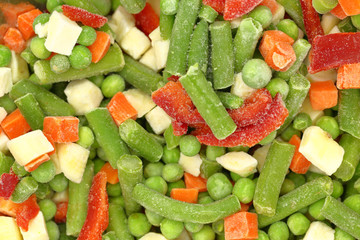 Frozen mixed vegetables background