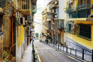 MACAU - JANUARY 30, 2015: The street in the historic centre of M