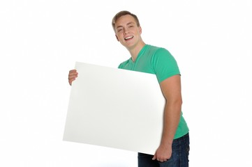 Young attractive man carrying a blank sheet of paper.