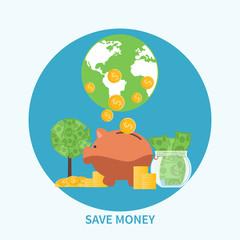 Piggy bank and coin, saving money concept