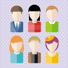 Characters silhouettes people professions