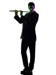 man playing  transverse flute player  silhouette