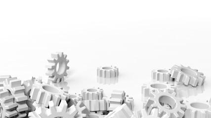 Pile of cogwheels isolated on white background