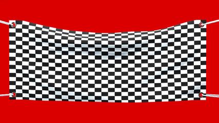 Striscione bandiera arrivo, traguardo, bandiera a scacchi
