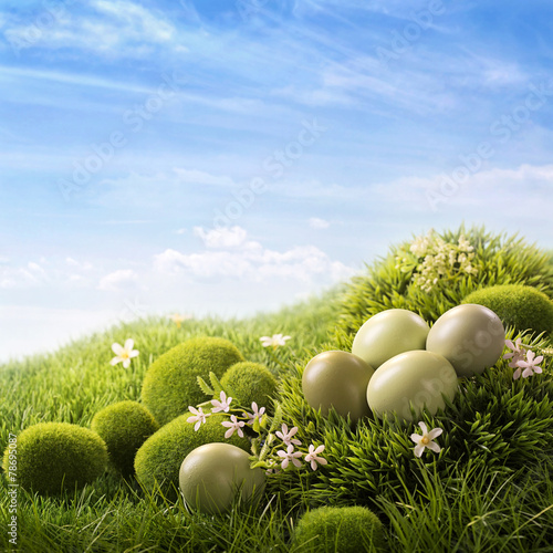 Green easter eggs - 78695087