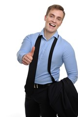 Portrait of a relaxed smiling businessman showing thumb up.