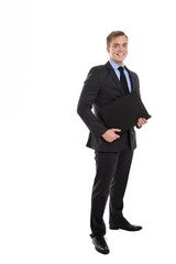 Your business success is our concern. Businessman with a folder.