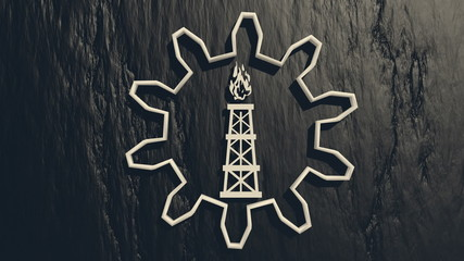 gas rig icon in gear on black charcoal backgroud