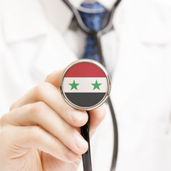 National flag on stethoscope conceptual series - Syria