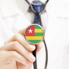National flag on stethoscope conceptual series - Togo
