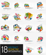 Set of modern polygonal origami paper infographics