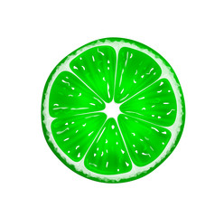 Slice of fresh citrus lime isolated on white background