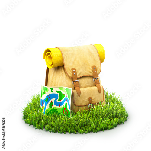 Backpack on grass - 78696226