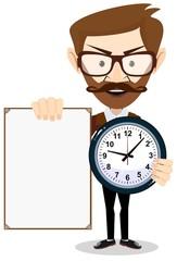 Teacher with a sheet timesheet, vector illustration