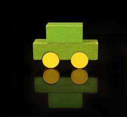 Personal auto of wooden blocks, traditional toy