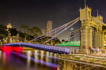 The Cavenagh Bridge at Night Singapore
