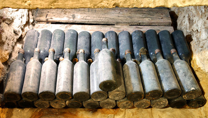 old wine bottles in the cellar wine cellar