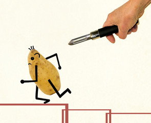 Potato running away under the threat of a vegetable peeler