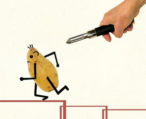 Potato running away under the threat of a vegetable peeler