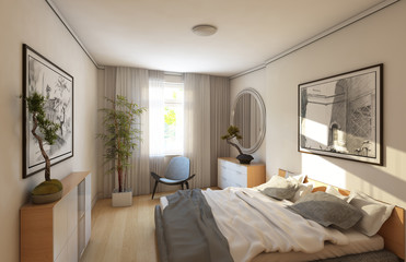 Rendering Of The Grey Bedroom