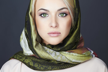 Beautiful blond woman in scarf.Beauty Girl.Classic Russian style