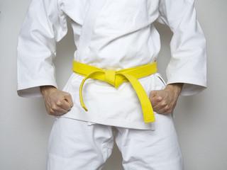 Kampfsport Kämpfer gelber Gürtel Anzug