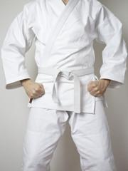 Kampfsport Kämpfer weißer Gürtel Anzug_hoch