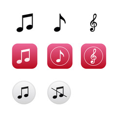 Musical icons and buttons with notes and treble clef