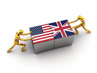 Political or financial concept of the USA struggling with the UK