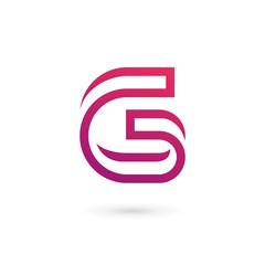 Letter G number 6 logo icon design template elements