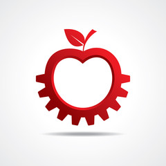 Red apple make gear shape, business technology symbol
