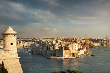 Grand Harbour and fort. Valletta. Malta