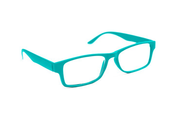 Turquoise Eye Glasses Isolated on White shallow depth of field a