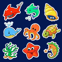 Illustration of the different sea creatures